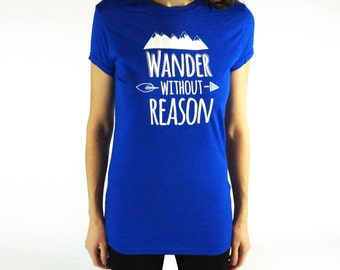 Ladies bamboo shirt, royal blue women's tshirt, wander without reason, gifts for her, tunic length extra long, ready to ship