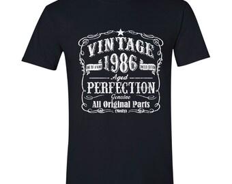 31st Birthday, 1986 Birthday, Crew Neck, 31st Birthday Idea, 31st Birthday Present, or Birthday Gift. 1986 Birthday, 1986 Shirt BLACK