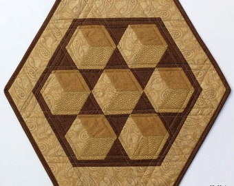 Quilted Table Topper, Reversible, Floating Blocks, Lions,Brown Tan