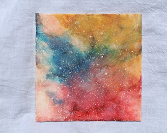 alcohol ink painting, ink painting, space painting, galaxy painting, space art, small painting, small canvas, nebula painting