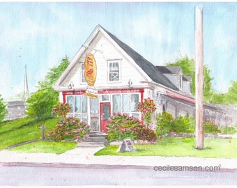 "Reproduction (print) ""Mabou Pub"" 5x7 on 8x10 100 lb quality paper"