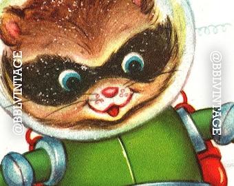 Vintage Digital Greeting Card: Raccoon in Outer Space - Digital Download, Printable, Scrapbooking, Image, Clip Art