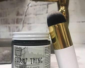 Activated Charcoal Mask | Acne Mask | Black Mud Face Mask | Kaolin Clay Mask | Detox Mask With Brush | Make Up Brush | Kelp Face Mask