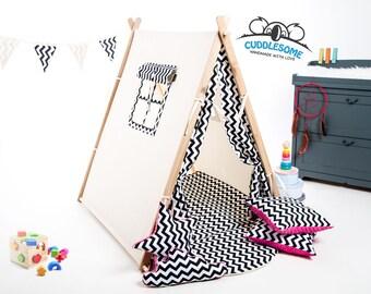 Teepee tent playhouse, tent for children, zigzag teepee, best birthday gift, kids tipi tent, kids garden wigwam, play tent, nursery decor