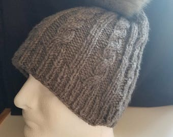 knit Winter cabled hat fur pom pom handmade