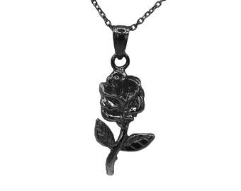 925 Black Sterling Silver Rose Necklace