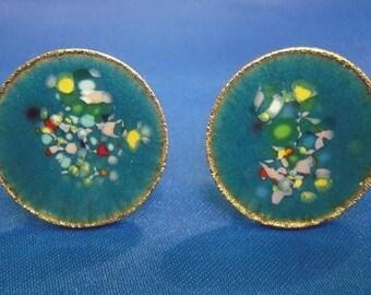 Vintage Artsy Turquoise Enameled Art Color Splash Cuff Links