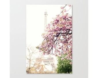 Art de la fleur de cerisier, photographie de Paris, art mural rose blush, art mural extra-large, art mural Paris, art mural encadré, mur de toile d'art