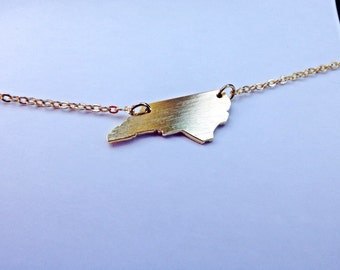 North Carolina Necklace   Gold Necklace   North Carolina State Necklace   NC Necklace   North Carolina Outline Necklace   Raleigh Necklace