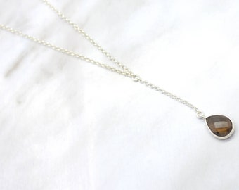 Smokey Quartz Lariat Necklace, Lariat Necklace, Sterling Silver Lariat Necklace, Minimalist Necklace, Layering Necklace