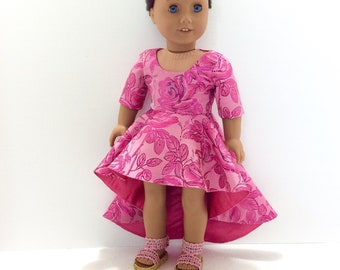 Pink Roses High Low Evening/Prom Dress, AG Doll Clothing, 18 Inch Doll Clothing, Made To Fit American Girl Doll