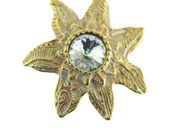 Large Gold Brooch with Large Rhinestone, Rhinestone Brooch, Gold Star Brooch