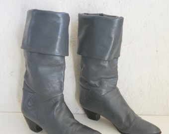 SALE Vintage Italian Leather Boot . Dark Grey High/Low Fashion Boot by Hana Mackler 6 - 6.5