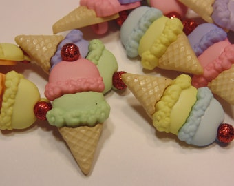 5 Double Scoop ice cream buttons, 12 x 25 mm (B9)