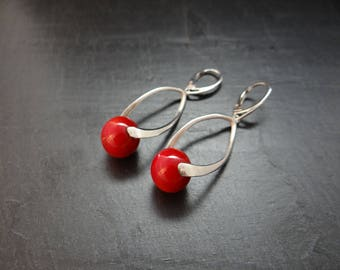 earrings silver 925/1000 and red stone