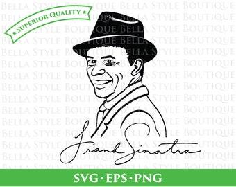 Frank Sinatra Portrait and Signature svg png eps cut file