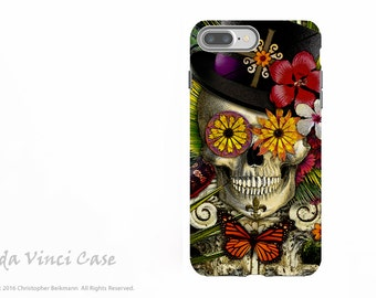 New Orleans Sugar Skull - Voodoo iPhone 7 Plus - 8 Plus Tough Case - Botanical Skull Dual Layer Protective Case - Baron in Bloom