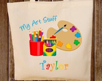 Art Supplies Tote Bag   Kids Tote Bag Arts and Crafts Bag