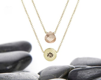 Lotus, Lotus Flower, Necklace, Jewelry, Yoga, Lotus Necklace, Lotus Charm, Layer Necklace, Minimalist, Gift Idea