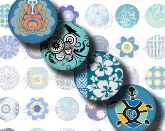Shades of Blue (2) Digital Collage Sheet - Circles 1inch - 25mm or 12mm or other sizes - Printable Download - Buy 3 Get 1 Extra Free