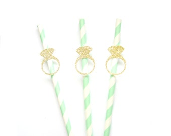 Mint Green & Gold Glitter Ring Paper Straws - wedding straws, engagement party straws, bridal shower straws, bachelorette party straws