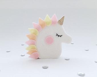 Wooden figure, Unicorn, Pink, Small