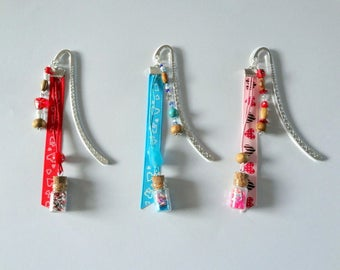 """Bookmark hand - Collection """"Bottles"""" with wooden beads """""""