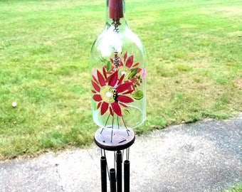 Butterfly wine bottle wind chime