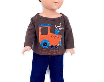 Train T-Shirt and Blue Jeans for 18 Inch Boy Doll, Brown Doll Shirt, Boy Doll Clothes, Winter Doll Clothes, Upcycled, OOAK