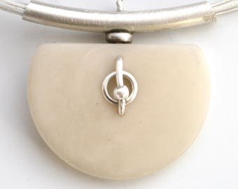 Half Moon Ivory Tagua Nut and Sterling Silver Necklace