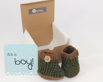 Gender Reveal Gift Box/ Pregnancy Announcement/ Crochet Baby Booties/ Gifts for grandparents, aunts, uncles and more!