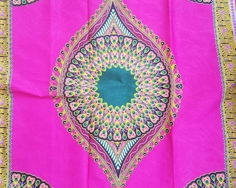 Pink and Green dashiki fabric