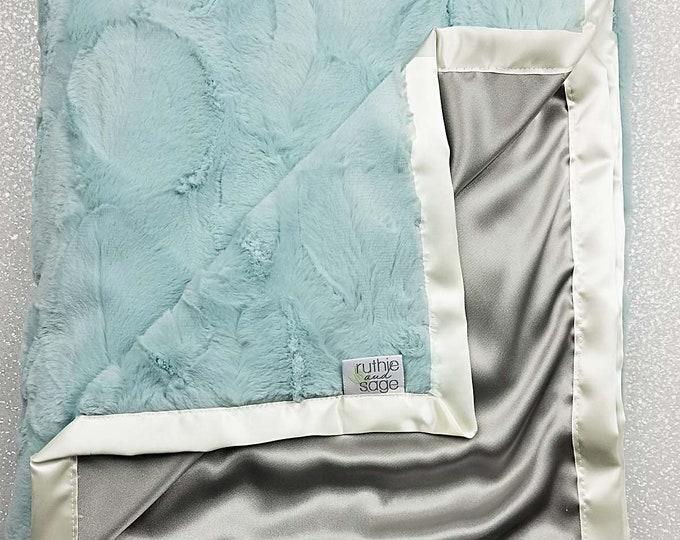 Minky Blanket, baby boy, aqua blanket, baby girl blanket, silk blanket, minky and satin baby blanket, aqua and silver, luxe hide seaglass