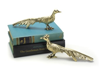 Pair Vintage Brass Peacock or Pheasant Figurines - Hollywood Regency Mid Century Birds - Rustic French Cottage Homestead Farm - Bookends