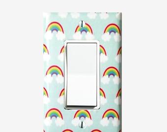 Rainbow nursery decor - Light switch cover plate