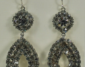 Vintage Rhinestone Teardrop Earrings, Vintage Silver Chandelier Earrings, Wedding Bridal Rhinestone Glam Silver Earrings Under 25