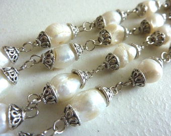 Antique White Double Strand Freshwater Pearls Necklace