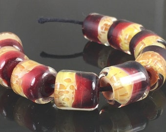 Handmade Lampwork Boro Beads Set of 9 Boro Borosilicate Glass Barrels