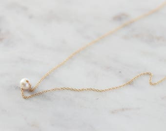 Holiday Necklace Jewelry Gift - Single Freshwater Pearl Necklace - Gold Pearl Necklace - Delicate Floating Pearl Necklace - Gift for Her