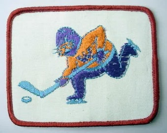 WALRUS PLAYING HOCKEY jacket or shirt patch.