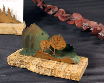 Business Card Holder - Patina Metal and Sand stone - Aspen Leaves