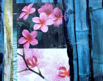 GLASSED, Orchid and Bamboo Paradise, 4x4 and Up, Hand Painted, re-collaged, wood panel, orchids, bamboo, tropical, plumeria