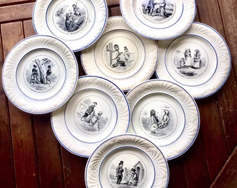 Old french, Creil and Montereau, 8 talking plates, humorous animals decor, gold, ironstone