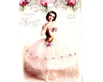 French Ballerina Tags , Vintage Style , Roses , Pink Tutu , Paris Tags , Crown , Shabby Tags , Pink and White , Bluebird Lane Tags