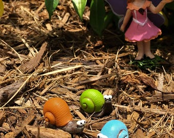 Three Snails for your Fairy Garden, Resin Snail Figurines