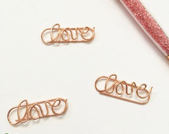 Decorative Fancy Rose Gold Love Romantic Paperclips Planner Clip