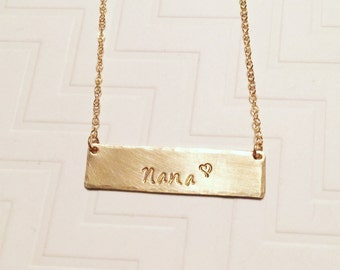 Nana Necklace - Grandma Necklace - Hand Stamped Necklace - Gift For Her - Mothers Day Gift - Brass Gold Bar Necklace