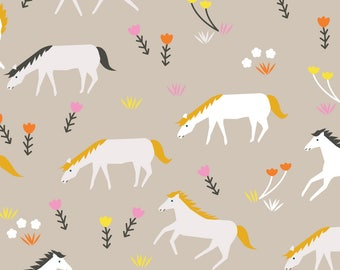 Stay Gold Ponies Mist Organic Cotton Fabric