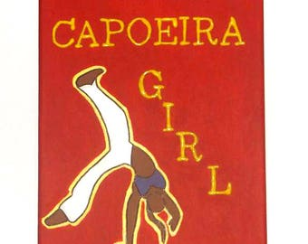 Capoeira Painting, Capoeira Art, Martial Arts Decor for Women, Brazilian Art, Capoeira Girl, Girl Power Gift, Strong Women Folk Art Painting