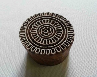 Indian Wood Block Printing Stamp - Hand Carved Round Small Stamp #3